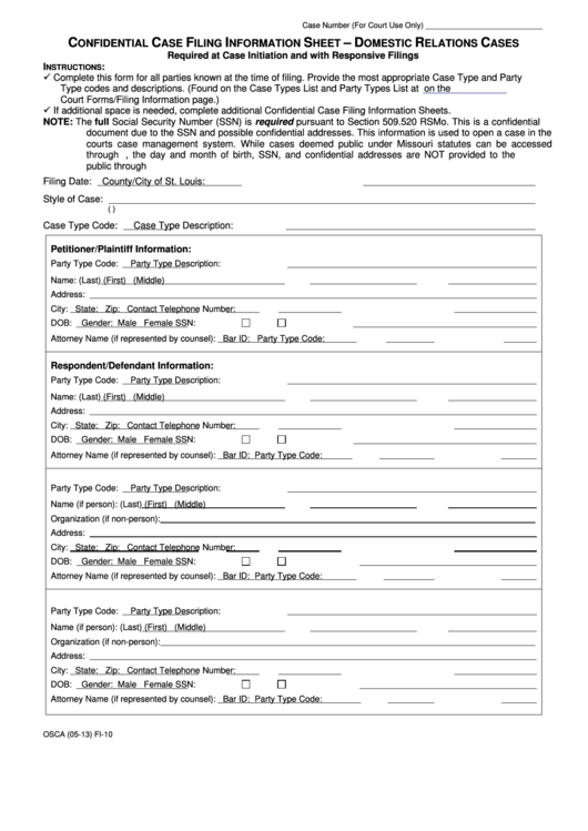 Confidential Case Filing Information Sheet - Domestic Relations ...