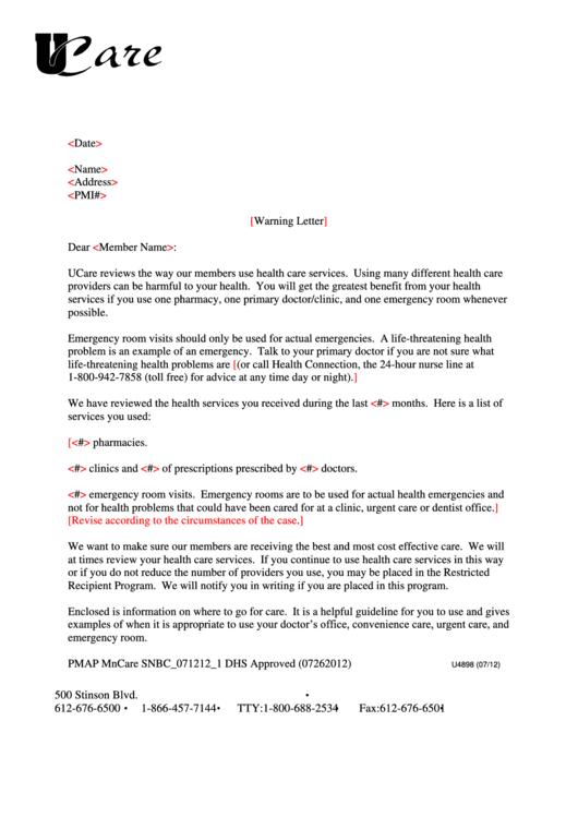 sample medical insurance warning letter template