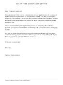 Volunteer Acceptance Letter
