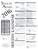 Calendar Template With Alaska Holidays - 2016