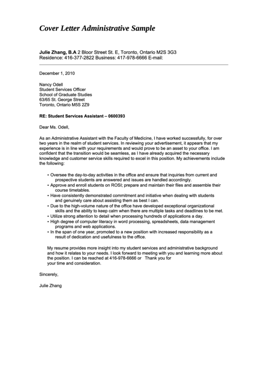 Administrative Student Services Assistant Cover Letter Sample Printable pdf