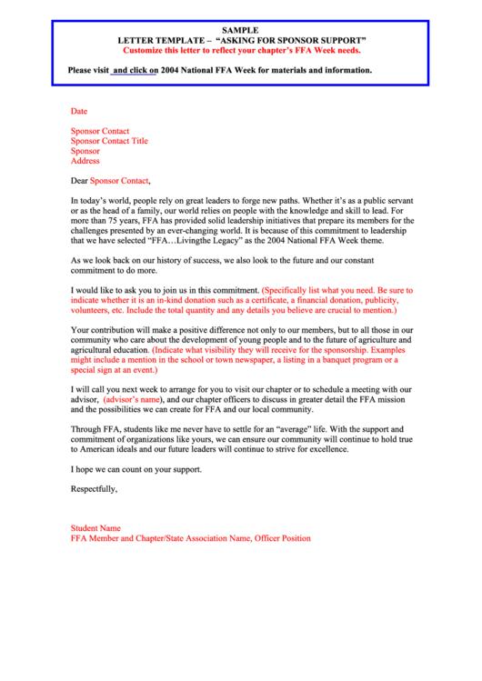 sample sponsor support request letter template