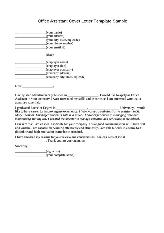 Office Assistant Cover Letter Template Sample