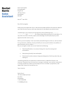 Sales Assistant Cover Letter Sample