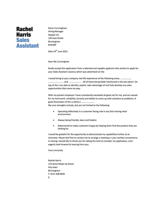 Sales Assistant Cover Letter Sample Printable pdf