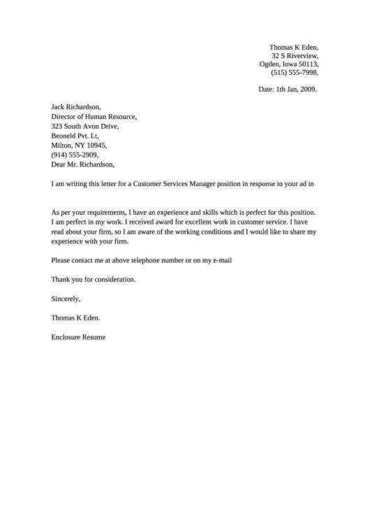 Customer Services Manager Cover Letter Example Printable pdf
