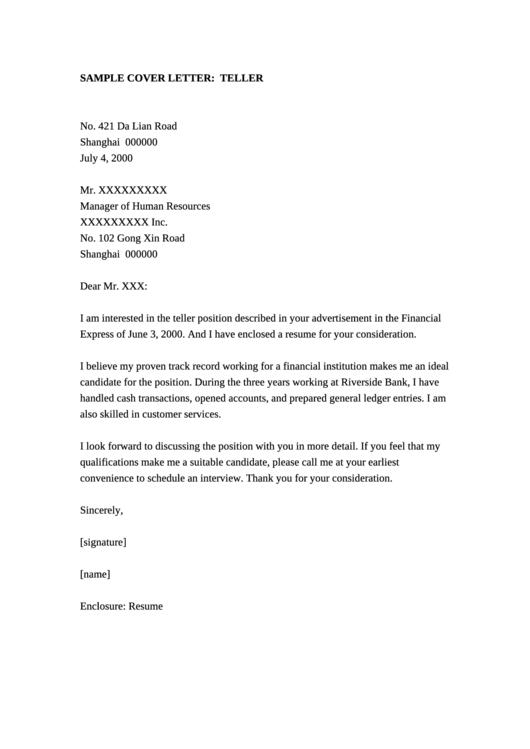 Sample Bank Teller Cover Letter Printable pdf
