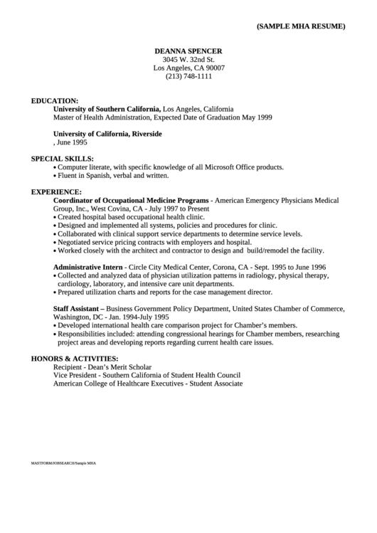Sample Mha Resume Printable pdf