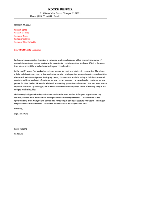 Customer Service Professional Cover Letter Sample Printable pdf