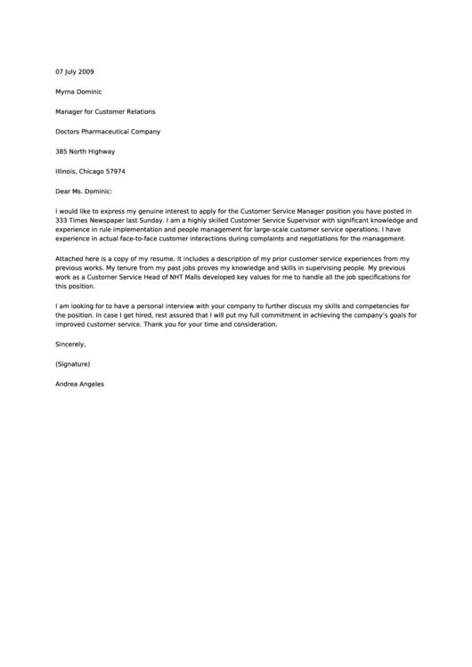 Customer Relations Manager Cover Letter Sample