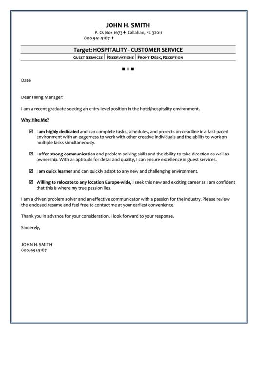 Hospitality Customer Service Sample Cover Letter Printable Pdf Download