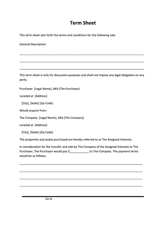 Term Sheet Template Printable pdf