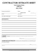Contractor Es Contractor Estimate Sheet