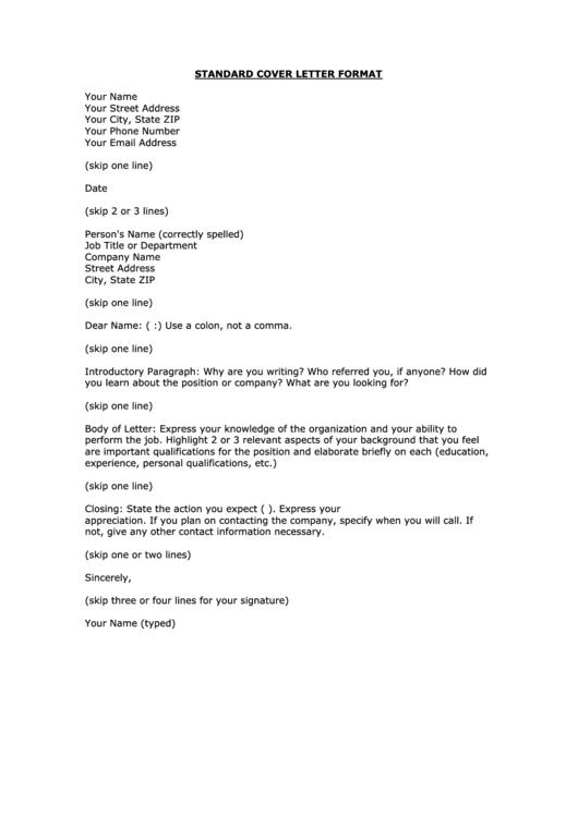 Standard Cover Letter Format Printable pdf