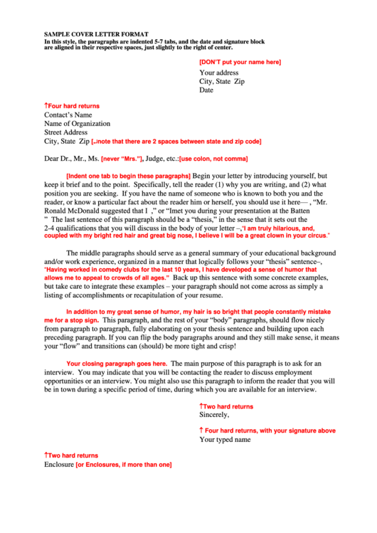 Sample Cover Letter Format Printable pdf
