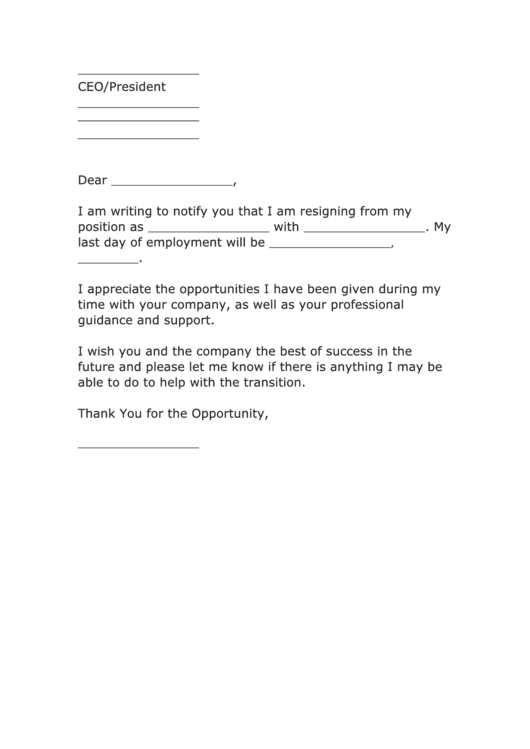 Fillable Professional Letter Of Resignation Template Printable pdf