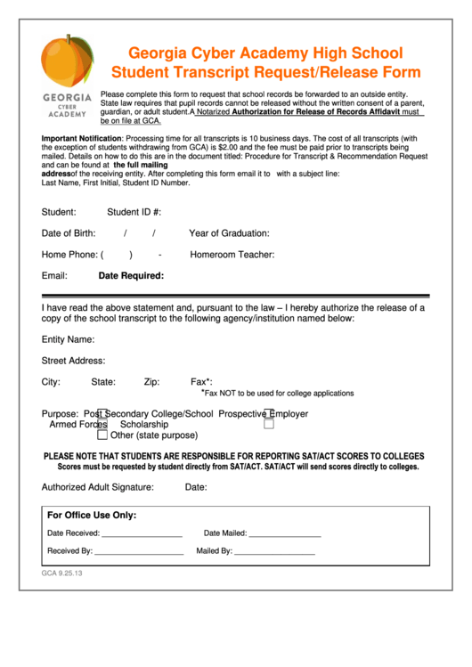 Georgia Cyber Academy High School Student Transcript Request/release Form Printable pdf
