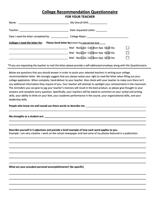 College Recommendation Questionnaire For Your Teacher Printable pdf