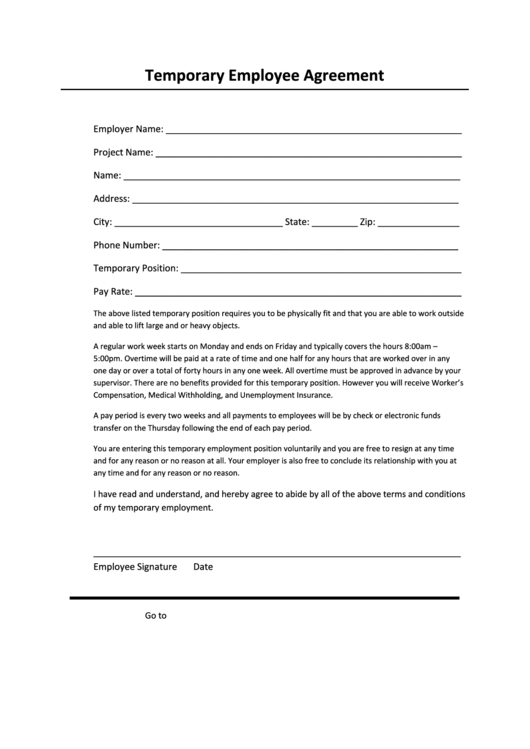 Temporary Employee Agreement Template printable pdf download