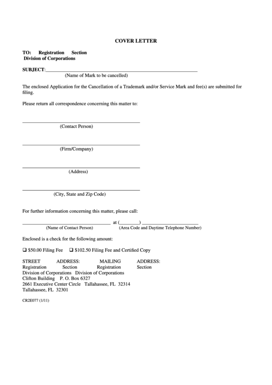 Fillable Cover Letter For Application For The Cancellation Of A Trademark Printable pdf
