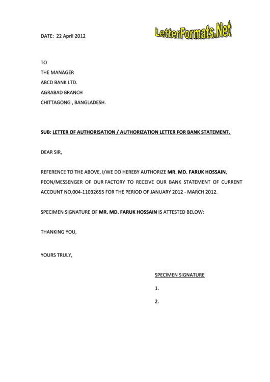 Letter Of Authorisation - Authorization Letter For Bank Statement