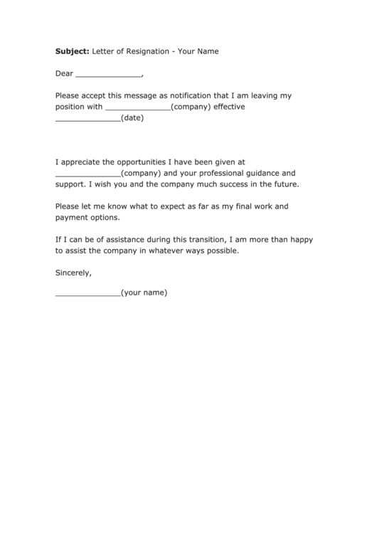 Fillable Letter Of Resignation Email Template Printable pdf