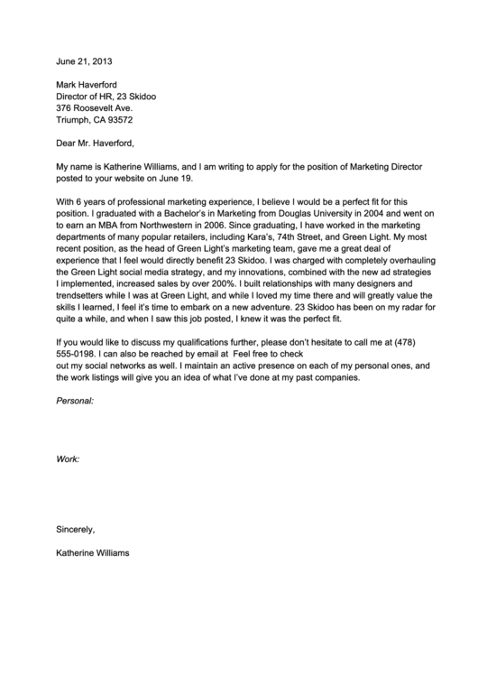 Cover Letter Template - Marketing Director Printable pdf