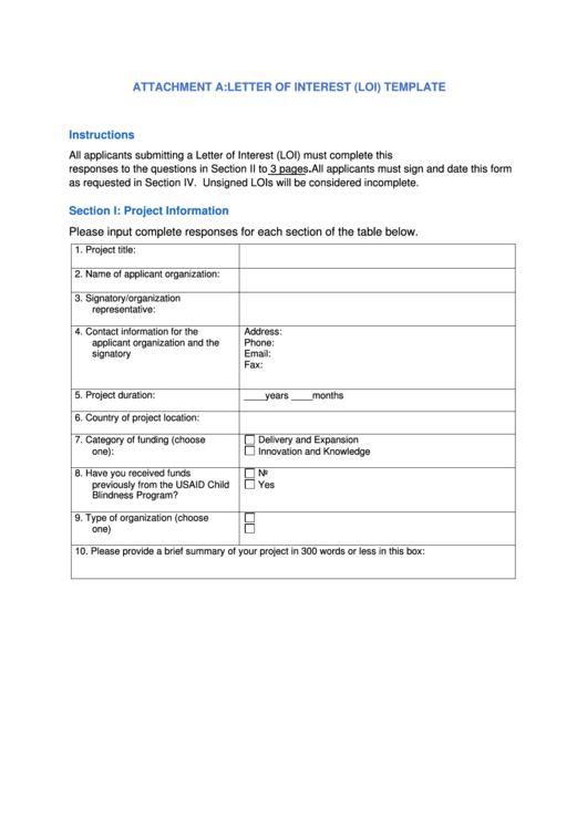 Letter Of Interest Loi Template Printable pdf