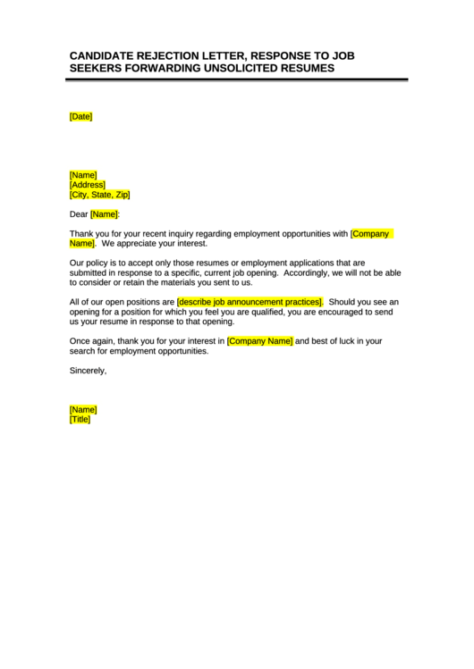 Candidate Rejection Letter Response To Job Seekers
