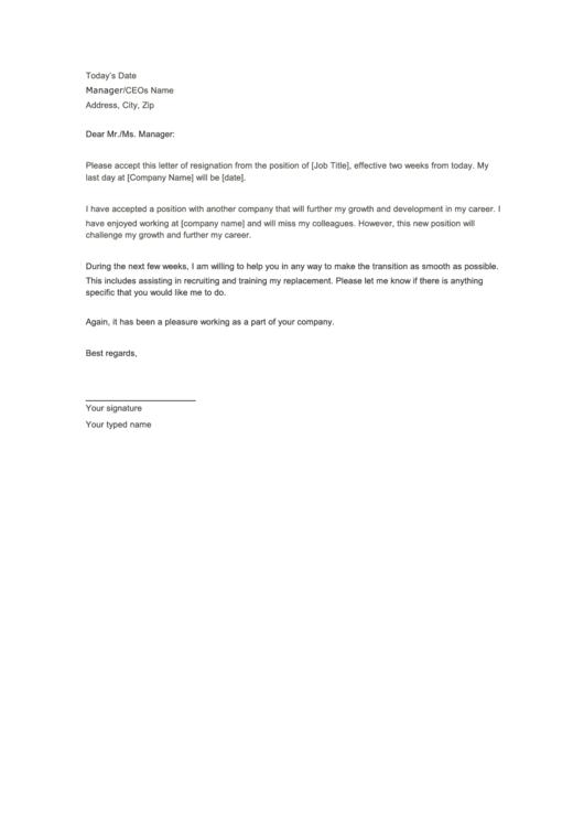 Formal Resignation Letter Template Printable pdf