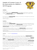 Samples Of Customer Letters Of Recommendation For Mheda Mvp Program