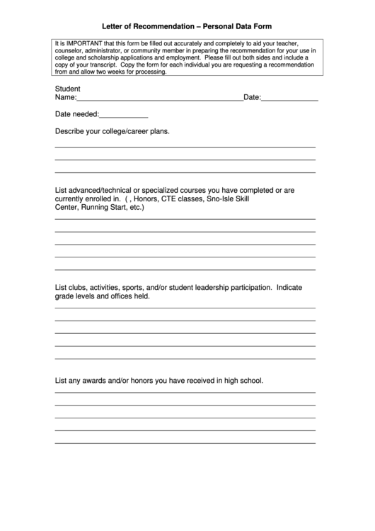 Letter Of Recommendation - Personal Data Form Printable pdf