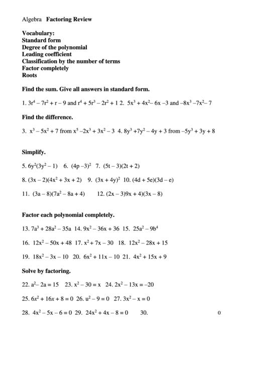 Factoring Review Worksheet Printable Pdf Download