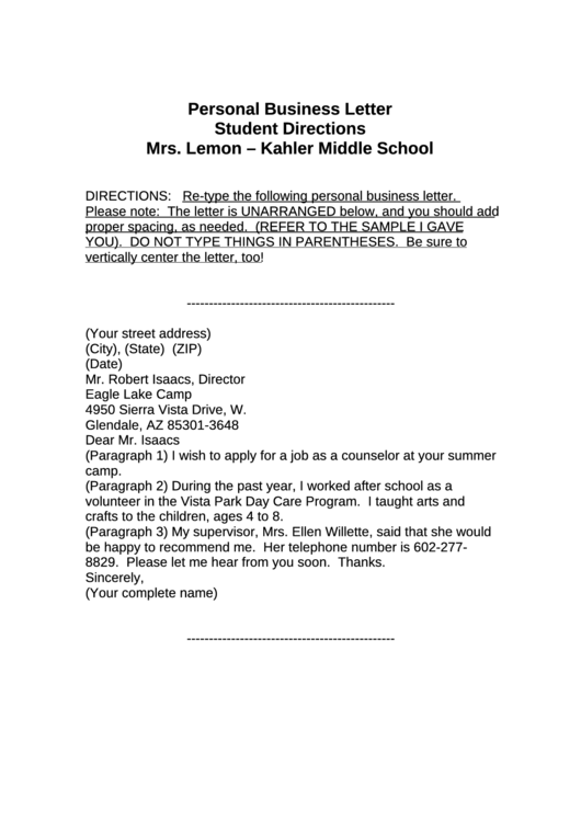 Personal Business Letter Printable pdf