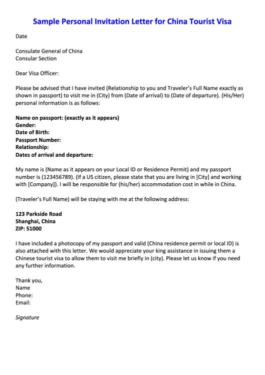 Fillable Sample Personal Invitation Letter For China Tourist Visa Template Printable pdf