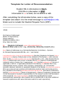 Template For Letter Of Recommendation (sample)