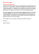 Sponsorship Thank You Letter Template