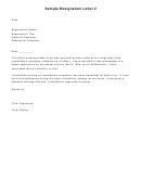 Sample Resignation Letter Template