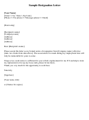 Sample Two-week Notice Resignation Letter Template