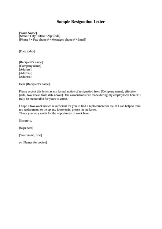 Sample Two-Week Notice Resignation Letter Template Printable pdf