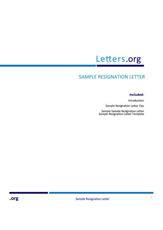 Sample Resignation Letter Template & Tips Printable pdf