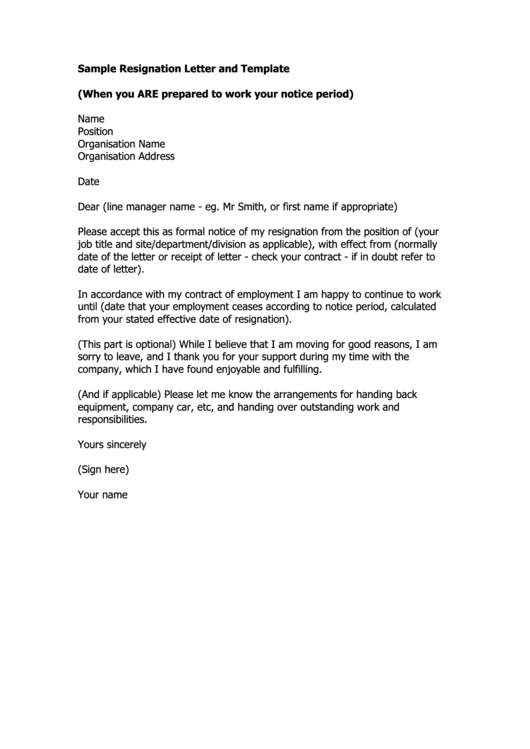 Sample Resignation Letter And Template Printable pdf
