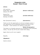 Sample Resignation Letter Template - Block Format