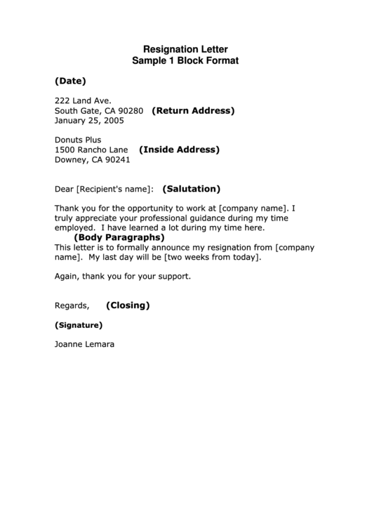Sample Resignation Letter Template - Block Format Printable pdf