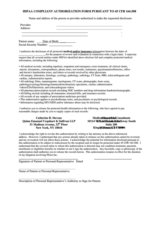 Hipaa Compliant Authorization Form