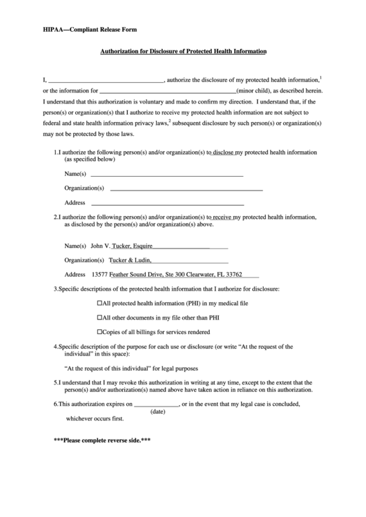 Hipaa - Compliant Release Form (Authorization For Disclosure Of Protected Health Information) Printable pdf