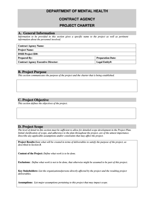 Contract Agency Project Charter