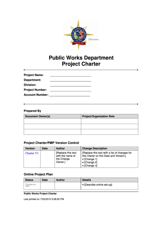 Public Works Department Project Charter