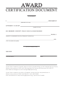 Award Certification Document