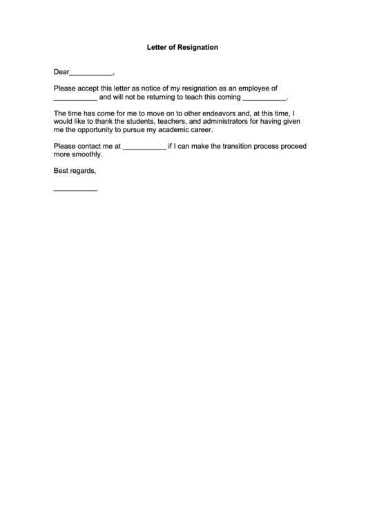 Fillable Teacher Resignation Letter Template Printable pdf